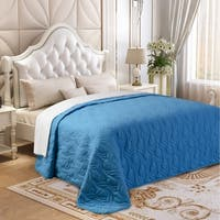 Microfiber Embroidered Twin Quilt Blue