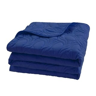 Microfiber Embroidered Full/Queen Quilt Navy