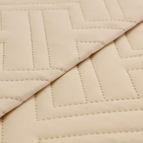 Microfiber Embossed 3 Pc King Quilt Set Ivory -Hannah-