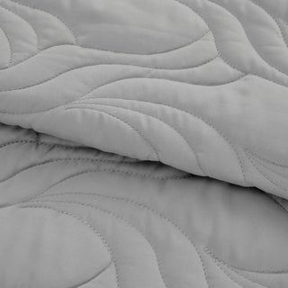 Microfiber Embroidered Full/Queen Quilt Silver