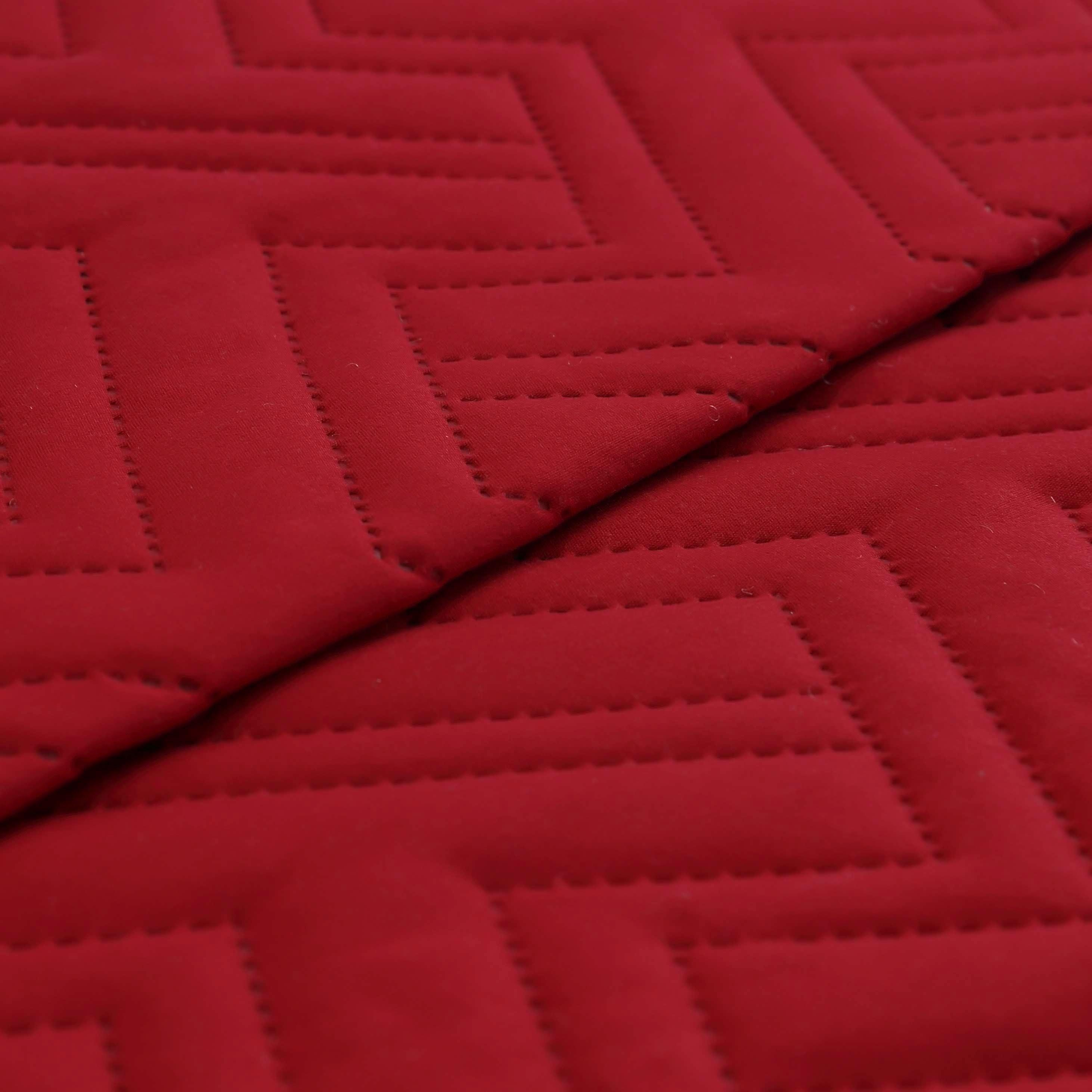 Microfiber Oversized King Size Quilt Super soft Burgundy Embroidered Quilt