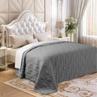 Microfiber Embroidered King Quilt Silver