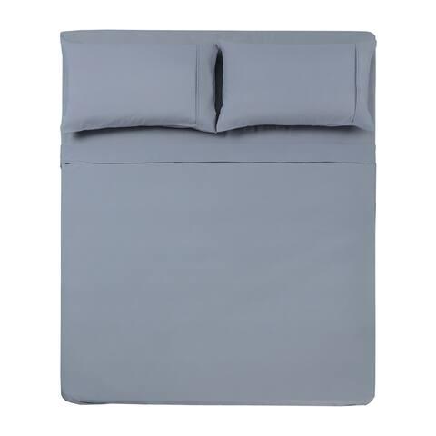 Microfiber Solid 4 Pc King Sheet Set Silver