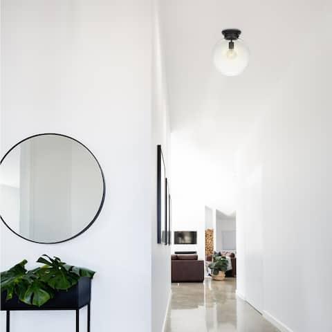 Portland 1-Light Black Semi-Flush Mount Ceiling Light