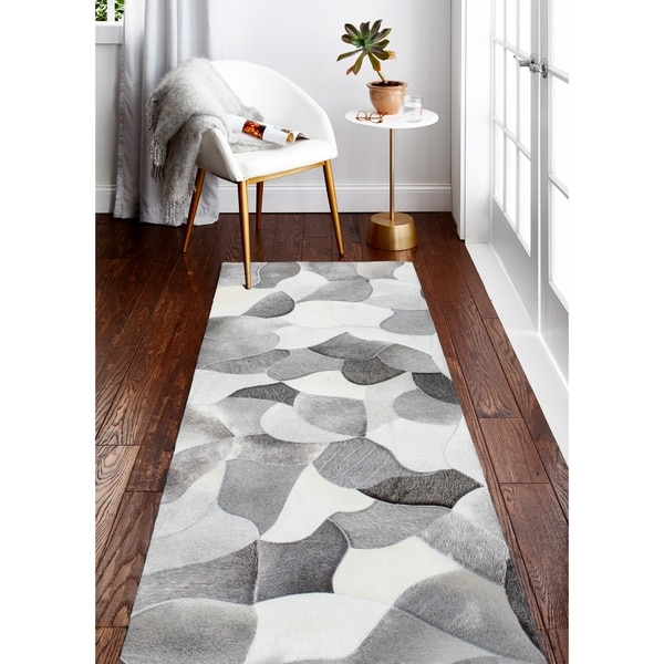 "Grayson Cowhide Area Rug - 2'6"" x 8' Runner"