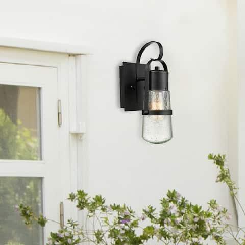 Hellen 12-inch 1-light Matte Black Outdoor Wall Sconce by Havenside Home
