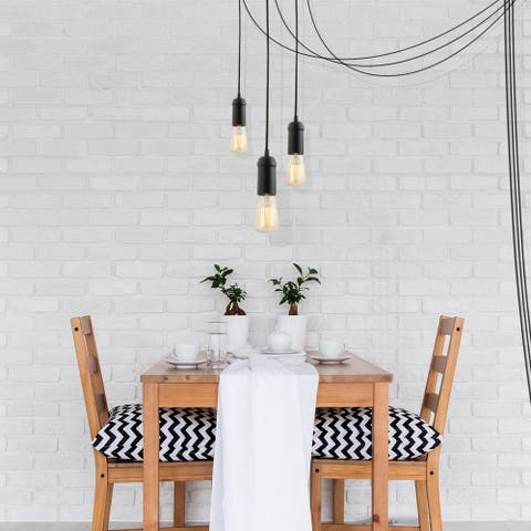 Edison 1-Light Matte Black Plug-In Pendant (3-Pack) - N/A