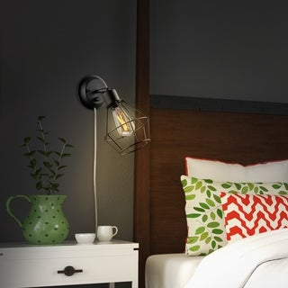 Verdun 1-Light Plug-In or Hardwire Industrial Cage Wall Sconce