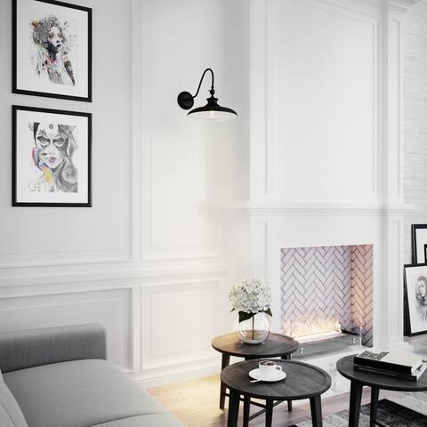 Carbon Loft Shaw 1-light Black Swivel Wall Sconce Light