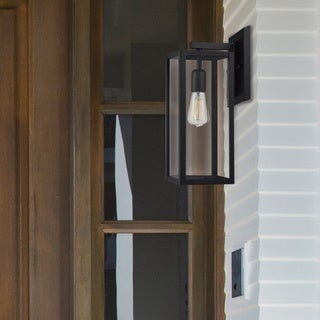 Link to Copper Grove Zhytomyr Matte Black /Glass Indoor/Outdoor 1-light Sconce Similar Items in Outdoor Wall Lights