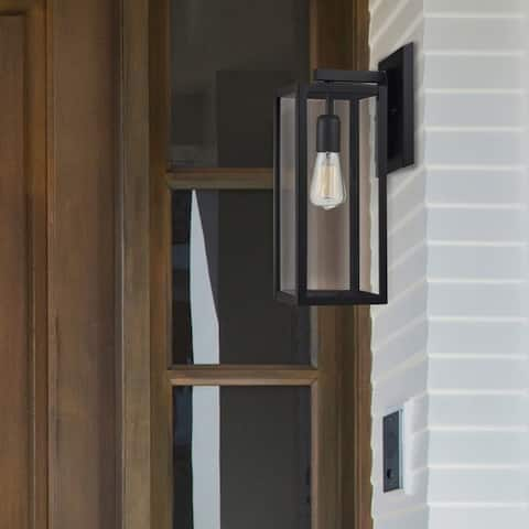 Copper Grove Zhytomyr 1-light Matte Black and Clear Glass Indoor/Outdoor Sconce