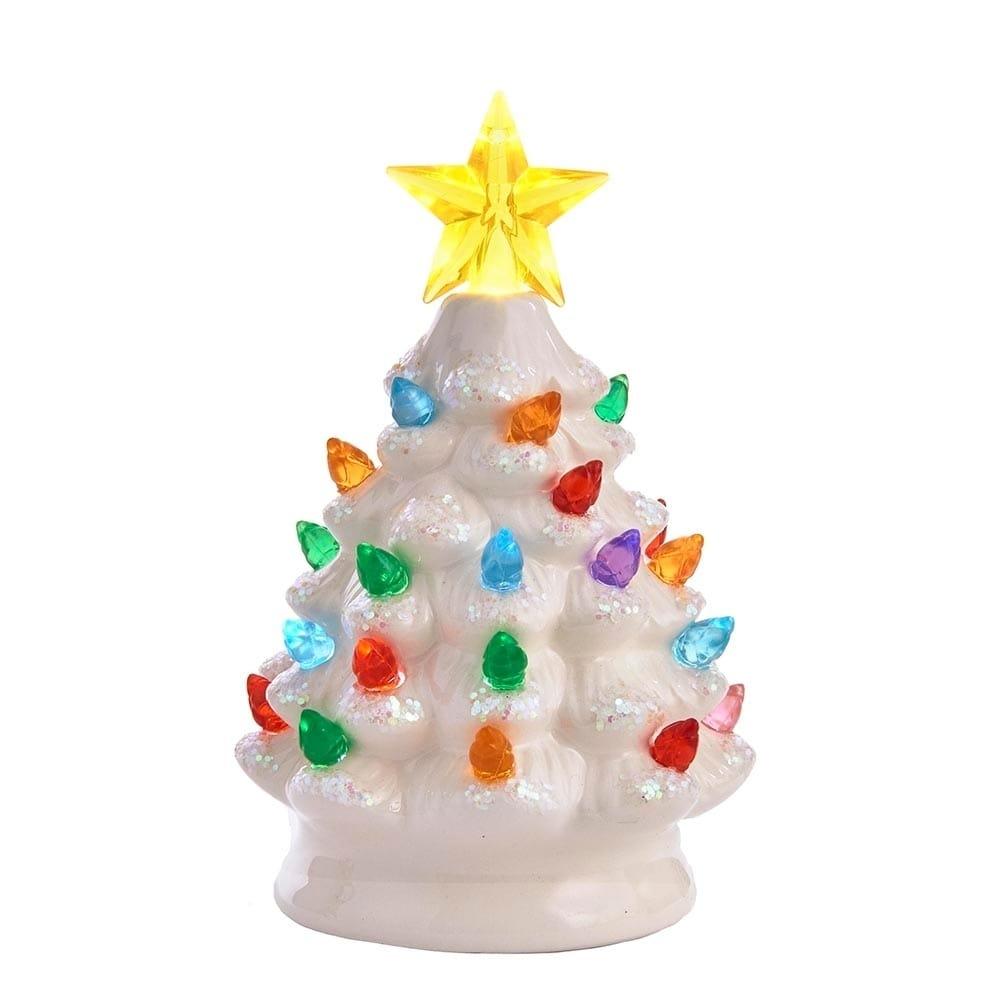 Kurt Adler Battery Operated Led Ceramic White Christmas Tree