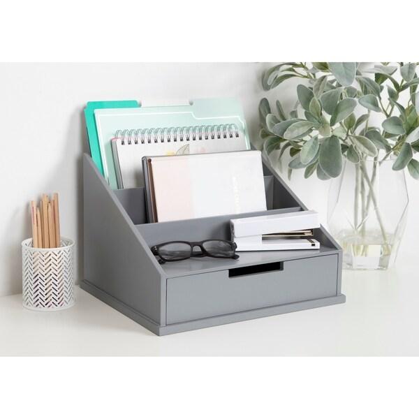 Kate and Laurel Francesca Wood Desktop Office File Holder - 9x13.5x11