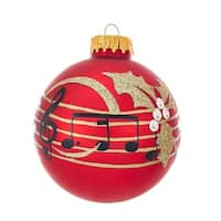 Kurt Adler 80MM Red With Music Notes Glass Ball Ornaments, 6-Piece Box