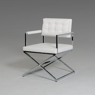 Modrest Cosme White Leatherette Dining Armchair