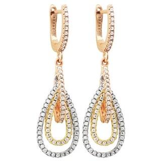 Luxiro Sterling Silver Tri-color Finish Cubic Zirconia Dangling Open Teardrops Earrings