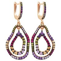 Luxiro Sterling Silver Two-tone Finish Lab-created Ruby with Multi-color CZ's Double Open Oval Earrings