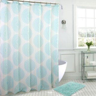 Medallion Bath Mat and Shower Curtain Set w/ Hooks