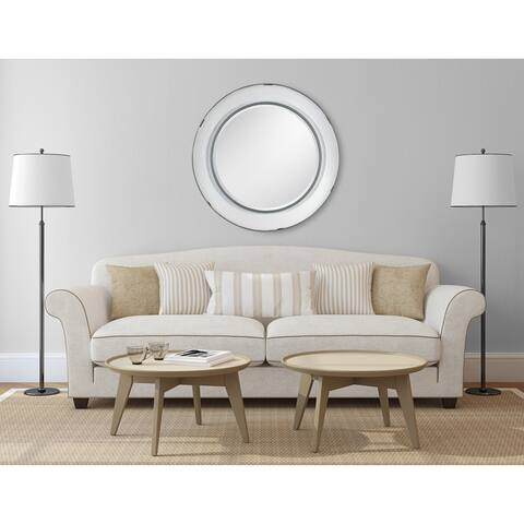 """Kate and Laurel Kestler Round Metal Wall Mirror - White - 34.5"""" diameter"""