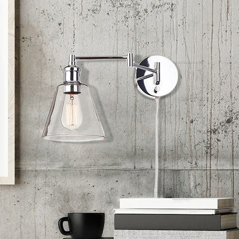 LeClair 1-Light Chrome Plug-In or Hardwire Industrial Wall Sconce