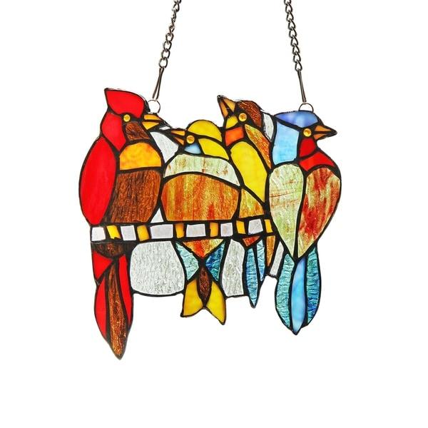 Chloe Tiffany Style Bird Design Stained Gl Window Panel Suncatcher