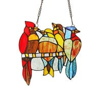 Chloe Tiffany Style Bird Design Stained Glass Window Panel Suncatcher