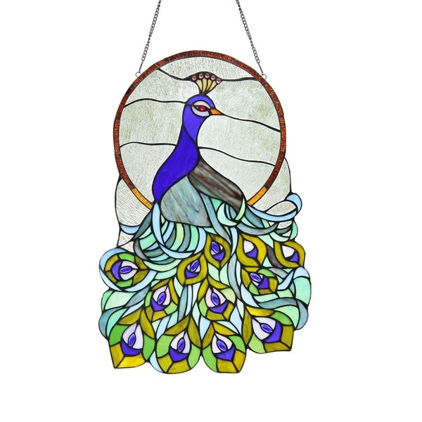 af939f83e Chloe Tiffany Style Peacock Design Stained Glass Window Panel Suncatcher