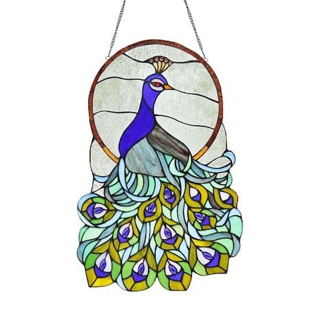 Chloe Tiffany Style Peacock Design Stained Glass Window Panel Suncatcher