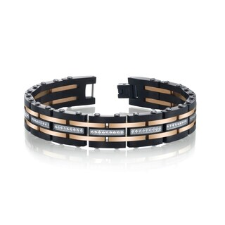SPARTAN Two-Tone Stainless Steel Men's Bracelet with Cubic Zirconia