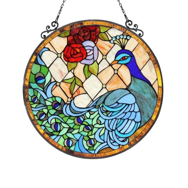 Chloe Tiffany Style Peacock Design Window Panel/Suncatcher