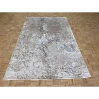 """Hand Knotted Gray Modern with Wool & Silk Oriental Rug (6'1"""" x 9'3"""") - 6'1"""" x 9'3"""""""