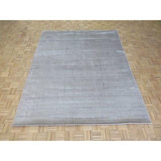 """Hand Knotted Gray Tibetan with Bamboo Silk Oriental Rug (8' x 9'11"""") - 8' x 9'11"""""""