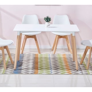 Best Master Furniture Mid Century White Dining Table