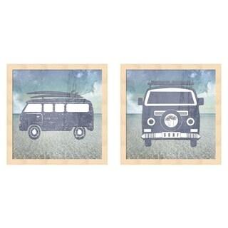 LightBoxJournal 'Beach Signs Surf Van' Framed Art (Set of 2)