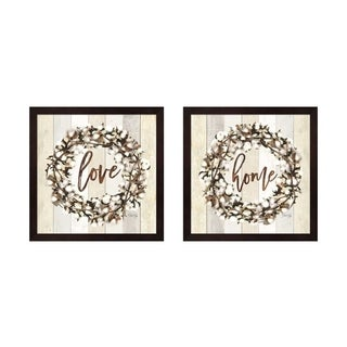 Marla Rae 'Home & Love Cotton Wreath' Framed Art (Set of 2)