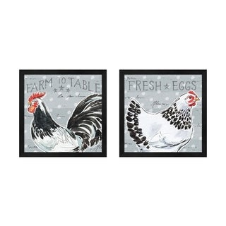 Daphne Brissonnet 'Roosters Call' Framed Art (Set of 2)