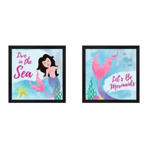 ND Art & Design 'Live in the Sea - Mermaid & Be Mermaids' Framed Art (Set of 2)