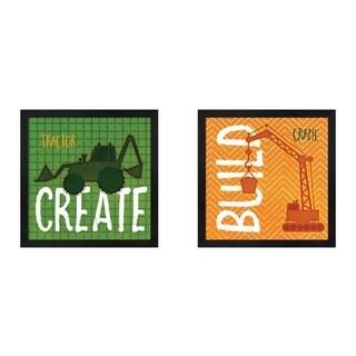 Jennifer Pugh 'Tractor Create & Crane Build' Framed Art (Set of 2)