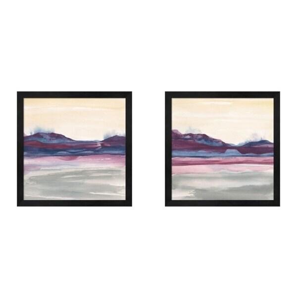 Chris Paschke 'Purple Rock Dawn' Framed Art (Set of 2)