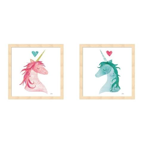 Melissa Averinos 'Unicorn Magic II Heart Sq Pink & Green' Framed Art (Set of 2)