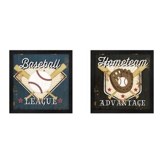 Jennifer Pugh 'Baseball & Hometeam' Framed Art (Set of 2)