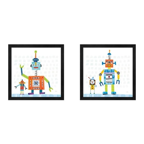 Melissa Averinos 'Robot Party on Square Toys A' Framed Art (Set of 2)