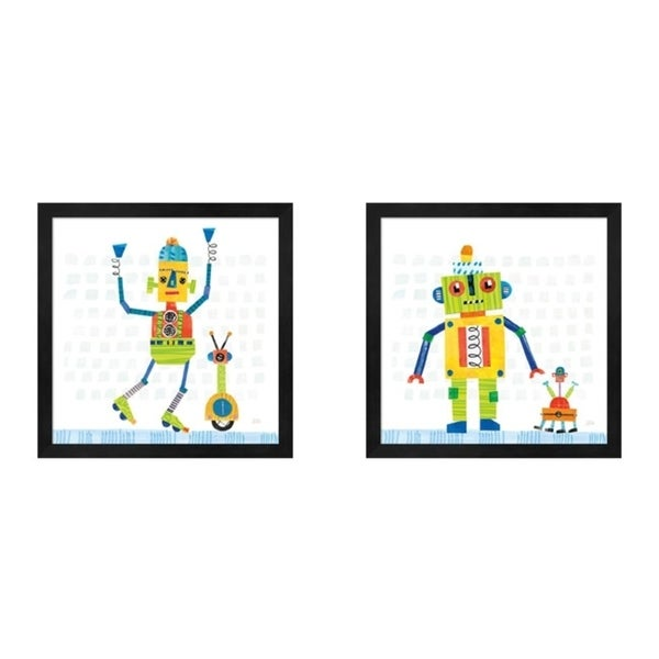 Melissa Averinos 'Robot Party on Square Toys B' Framed Art (Set of 2)