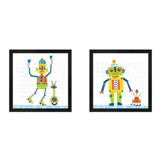Melissa Averinos 'Robot Party on Square Toys B' Framed Art (Set of 2)