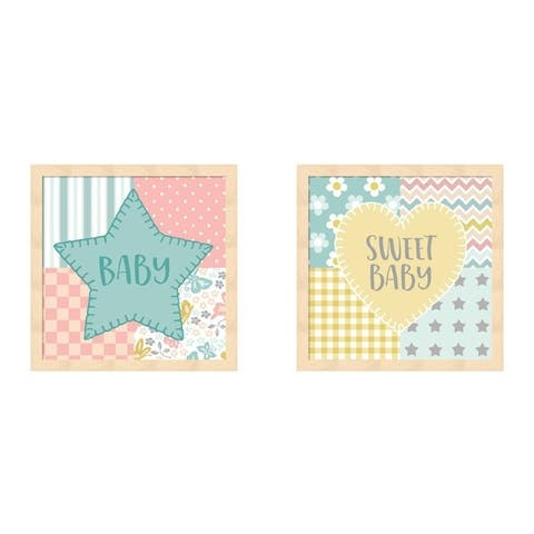 Beth Grove 'Baby Quilt Boy' Framed Art (Set of 2)