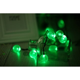 Solar Powered 20 LED Green Lights String