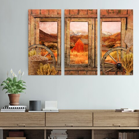 Ready2HangArt Rustic 'Farmhouse' 3-Piece Wrapped Canvas Wall Art Set - Brown