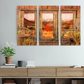 Olivia Rose Rustic 'Farmhouse' 3-Piece Wrapped Canvas Wall Art Set