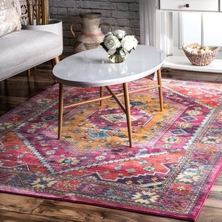 nuLOOM Pink Lavish Aztec Abstract Antique Area Rug
