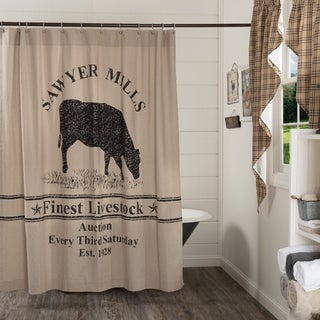 VHC Sawyer Mill Farmhouse Country Bath Cow Stenciled Shower Curtain